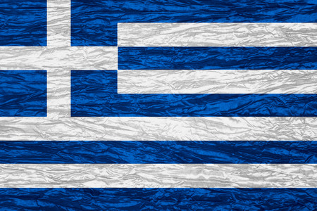 greece flag: Greece flag of or Greek banner on canvas texture