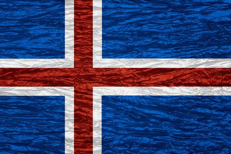 flag of iceland: Bandera de Islandia o la bandera de Islandia en textura de la lona