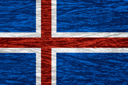 iceland flag: Iceland flag or Icelandic banner on canvas texture Stock Photo