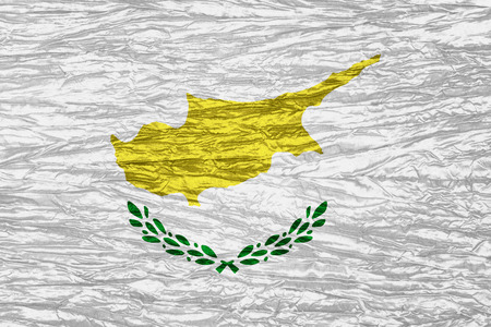 cypriot: Cyprus flag or Cypriot banner on canvas texture