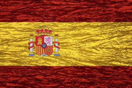 spainish: Spain flag of or Spainish banner on canvas texture