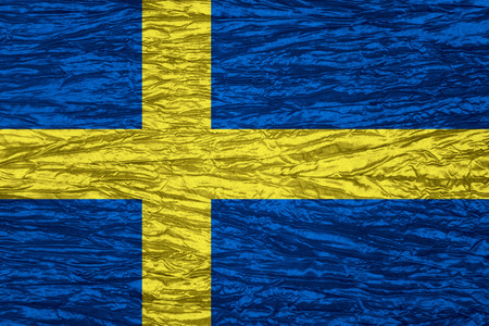 swedish: flag of Sweden or Swedish banner on canvas texture Stock Photo