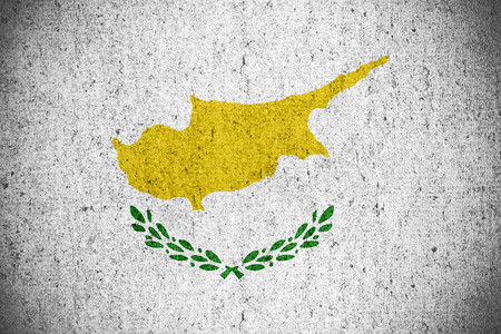 cypriot: flag of Cyprus or Cypriot banner on rough pattern texture