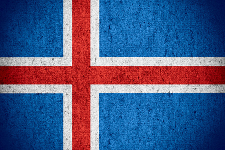 icelandic flag: flag of Iceland or Icelandic banner on rough pattern texture