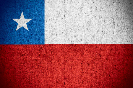 chilean flag: flag of Chile or Chilean banner on rough pattern texture Stock Photo
