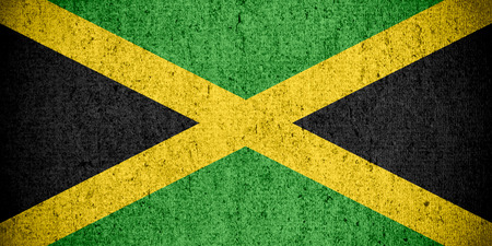 jamaican: flag of Jamaica or Jamaican banner on rough pattern texture