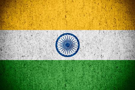 bandera de la india: bandera de la India o la bandera en el patr�n de textura �spera Foto de archivo
