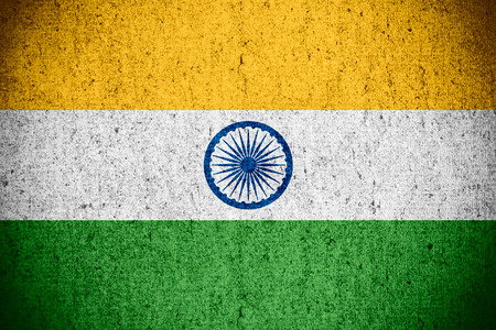 india flag: flag of India or banner on rough pattern texture Stock Photo