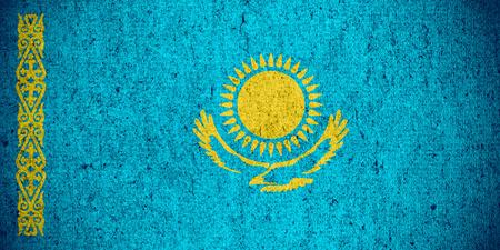 kazakh: flag of Kazakhstan or Kazakh banner on rough pattern texture