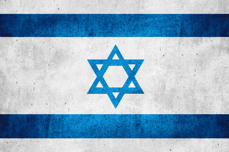 flag of Israel or Israeli banner on rough pattern texture background