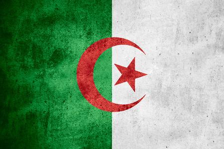 algerian flag: flag of Algeria or Algerian banner on rough pattern texture background Stock Photo