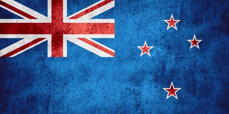 bandera de nueva zelanda: bandera de Nueva Zelanda o banner en el patrón de áspera textura de fondo Foto de archivo