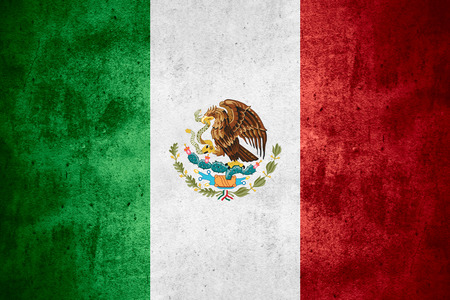 flag of Mexico or Mexican banner on rough pattern texture background
