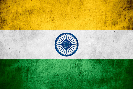 india flag: flag of India or Indian banner on rough pattern texture background Stock Photo