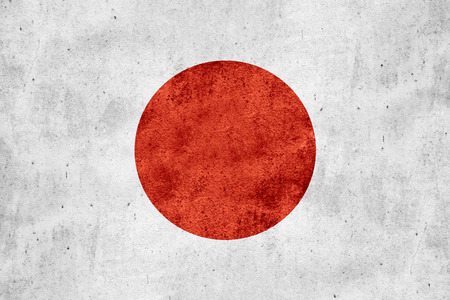 flag of Japan or Japanese banner on rough pattern texture background