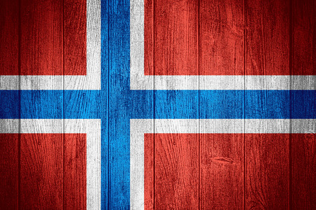 norway flag: Norway flag or Norwegian banner on wooden boards background
