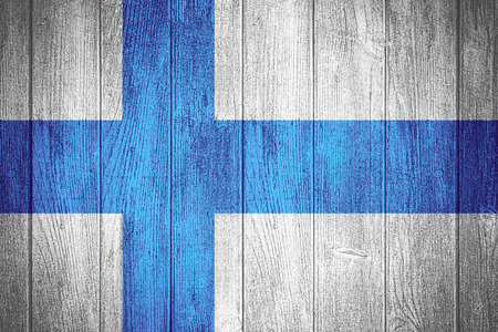 finland flag: Finland flag or Finnish banner on wooden boards background Stock Photo