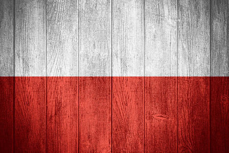 poland flag: Poland flag or Polish banner on wooden boards background