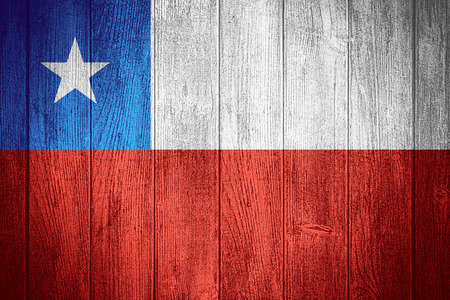 chilean flag: Chile flag or Chilean banner on wooden boards background