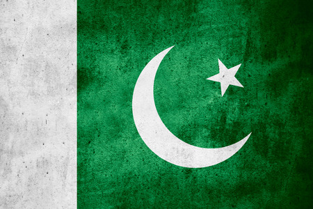 pakistani pakistan: flag of Pakistan or Pakistani banner on rough pattern texture background Stock Photo
