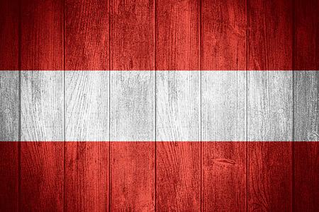 austria flag: Austria flag or Austrian banner on wooden boards background