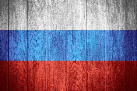 russia flag: Russia flag or Russian banner on wooden boards background Stock Photo