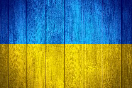 ukraine flag: Ukraine flag or Ukrainian banner on wooden boards background