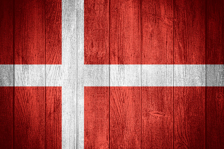 denmark flag: Denmark flag or Danish banner on wooden boards background Stock Photo