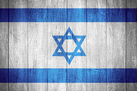 israeli: Israel flag or Israeli banner on wooden boards background