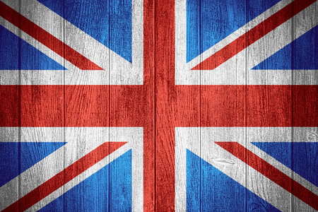 United Kingdom flag or British banner on wooden boards background, Great Britain Stockfoto