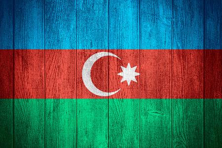 azerbaijani: Azerbaijan flag or Azerbaijani banner on wooden boards background
