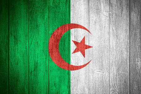algerian flag: Algeria flag or Algerian banner on wooden boards background