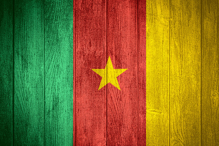 cameroonian: Cameroon flag or Cameroonian banner on wooden boards background
