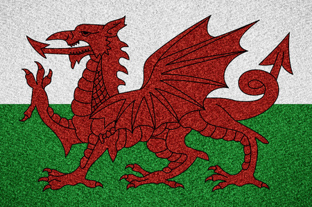 welsh flag: flag of Wales or Welsh symbol on abstract background