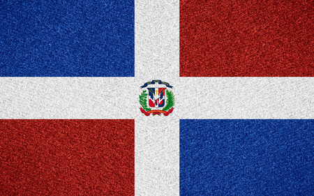 dominican: flag of Dominican Republic or symbol  on abstract background Stock Photo