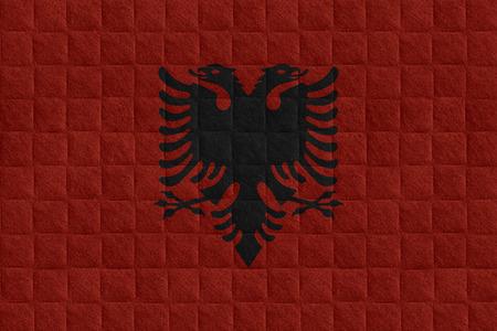 albanian: Albania flag  or Albanian banner on check pattern background