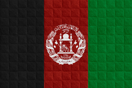 afghan flag: flag of Afghanistan or Afghan banner on check pattern background