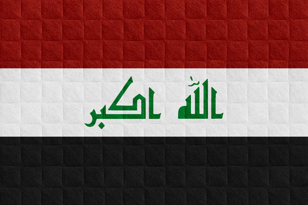 iraqi: flag of Iraq or Iraqi banner on check pattern background Stock Photo