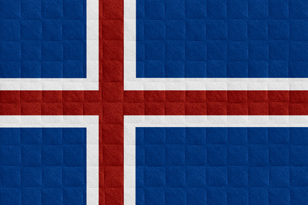 icelandic flag: flag of Iceland or Icelandic banner on check pattern background Stock Photo