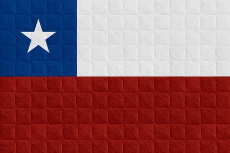 chilean flag: flag of Chile or Chilean banner on check pattern background
