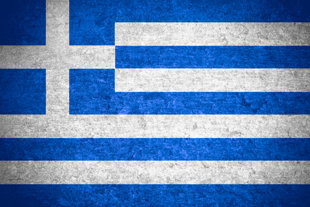 old flag: flag of Greece or Greek banner on old metal texture background Stock Photo