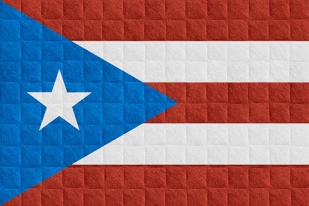 puerto rican flag: flag of Puerto Rico or Puerto Rican banner on check pattern background Stock Photo