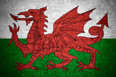 welsh flag: bandiera del Galles o gallese banner sul vecchio metallo texture di sfondo Archivio Fotografico