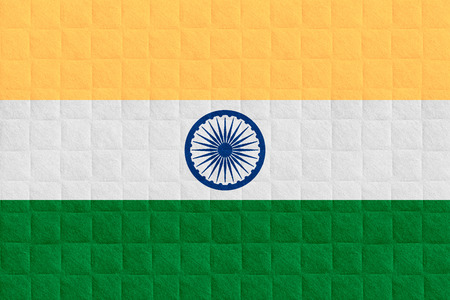 india flag: flag of India or Indian banner on check pattern background Stock Photo