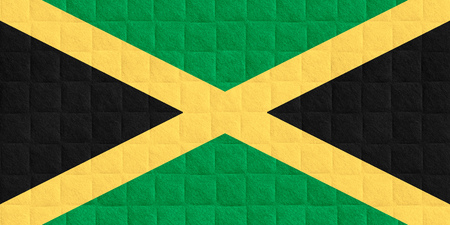 jamaican flag: flag of Jamaica or Jamaican banner on check pattern background