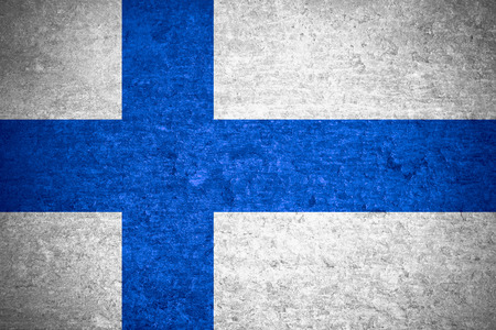 finnish: flag of Finland or Finnish banner on old metal texture background