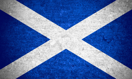 scotish: flag of Scotland or Scotish banner on old metal texture background Stock Photo