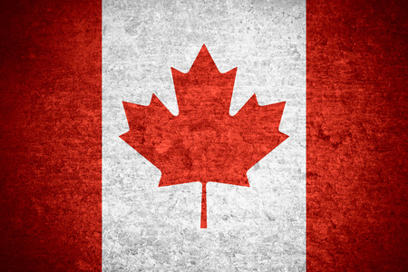 old flag: flag of Canada or Canadian  banner on old metal texture background