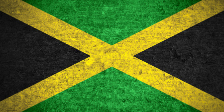 flag of Jamaica or Jamaican banner on old metal texture background