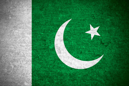 pakistani pakistan: flag of Pakistan or Pakistani banner on old metal texture background